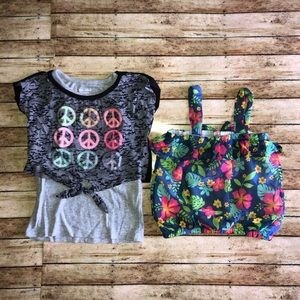 Bundle Of 2 Gray Double Shirt Cropped Floral Top 5